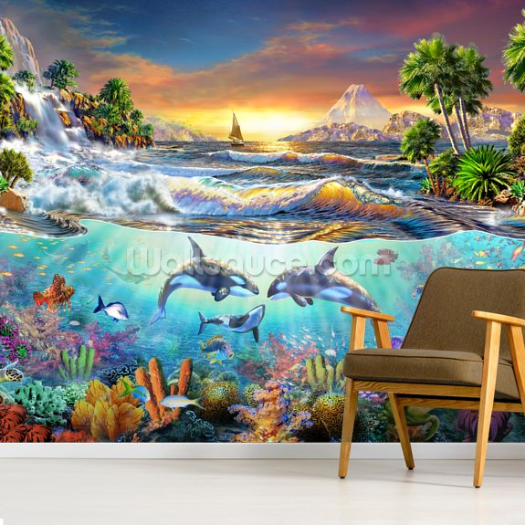 Valhala Dawn mural wallpaper room setting