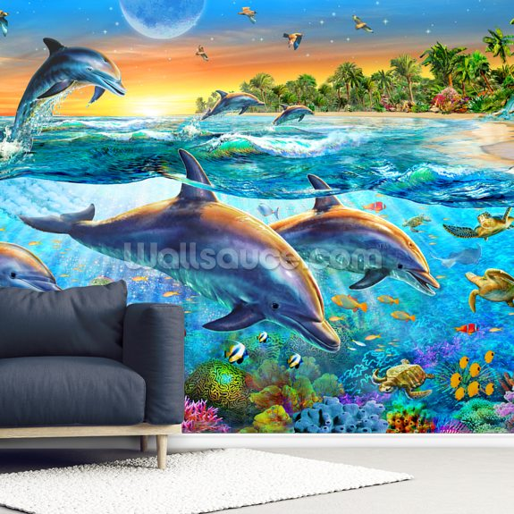 Dolphin Bay wallpaper mural room setting