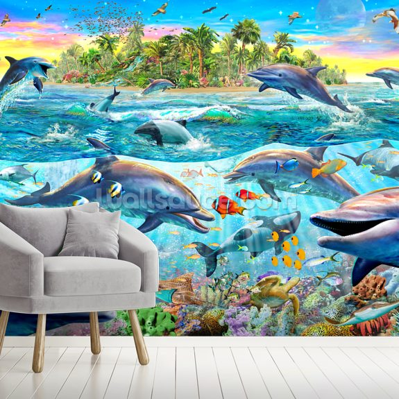 Dolphin Reef mural wallpaper room setting