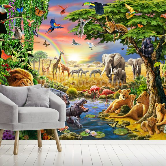 Waterhole wall mural room setting
