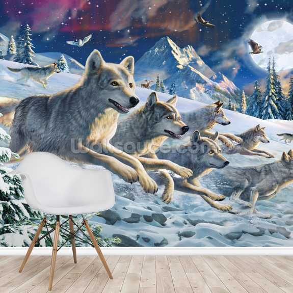 Moonlight Wolfpack mural wallpaper room setting