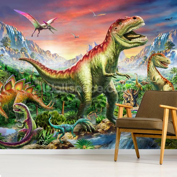 Jurassic Forest mural wallpaper room setting