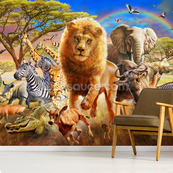 African Stampede wall mural room setting