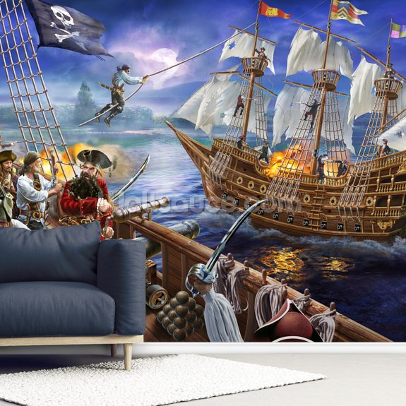 Black Beard wallpaper mural room setting
