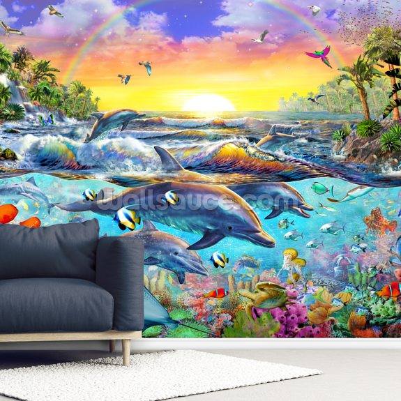 Tropical Cove mural wallpaper room setting