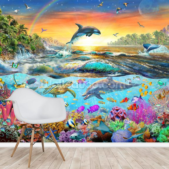 Tropical Paradise by Adrian Chesterman wall mural room setting