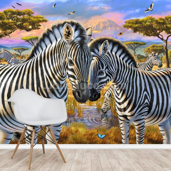 Loving Zebras wallpaper mural room setting