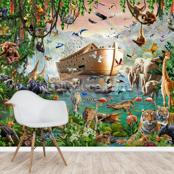 Noah's Ark Jumbo mural wallpaper room setting