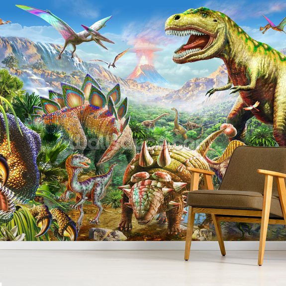 Dino Group wall mural room setting