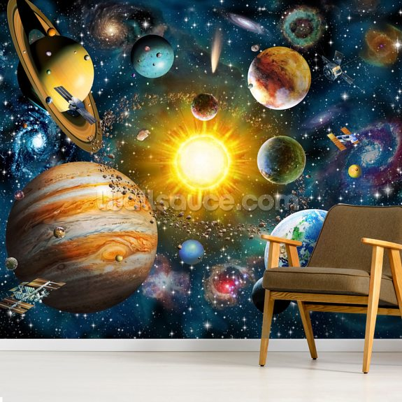 Our Solar System wallpaper mural room setting