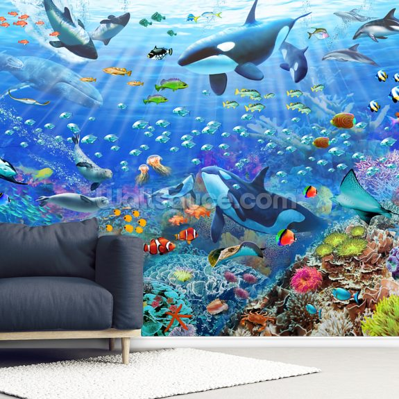 Underwater Scenery wall mural room setting
