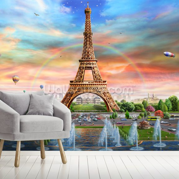 Eiffel Tower at Dusk wallpaper mural room setting