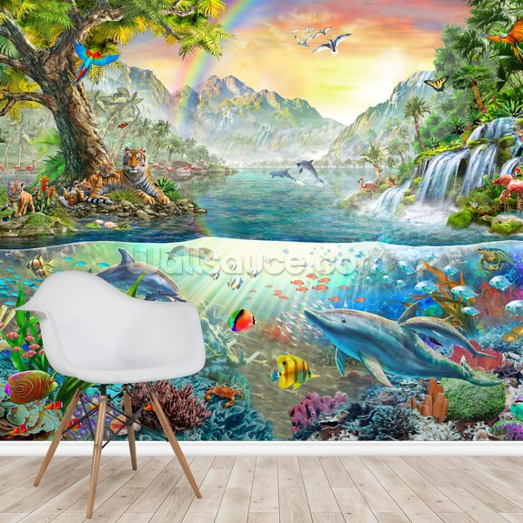 Sea and Land Paradise wallpaper mural room setting