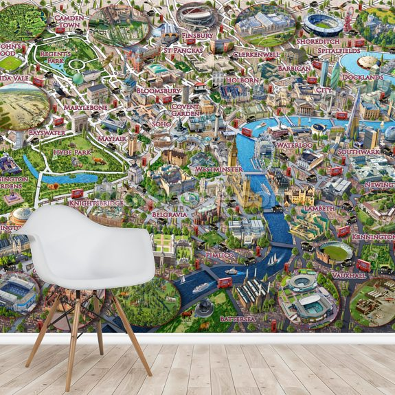 London Landmarks mural wallpaper room setting
