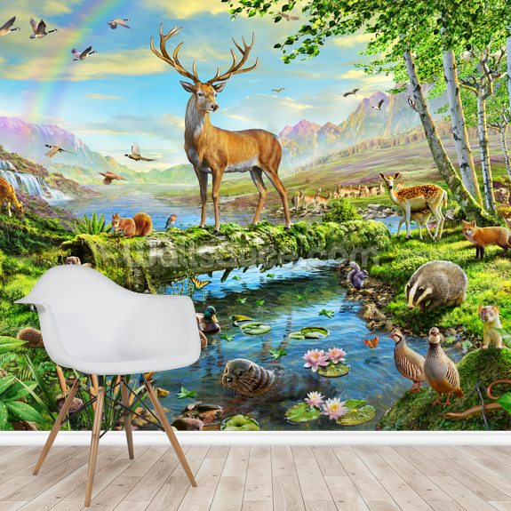 Wildlife Splendor UK wall mural room setting