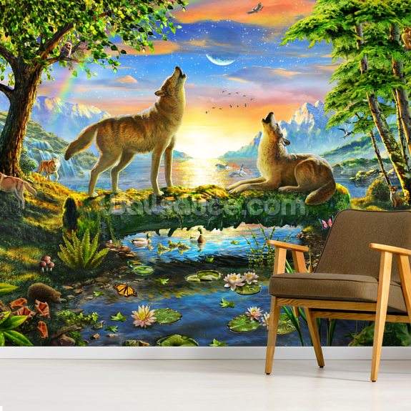 Wolf Harmony mural wallpaper room setting