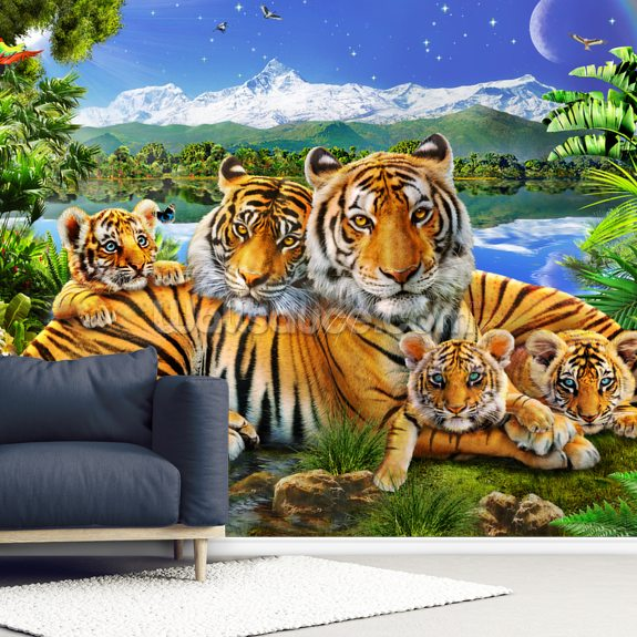 Loving Tigers wall mural room setting