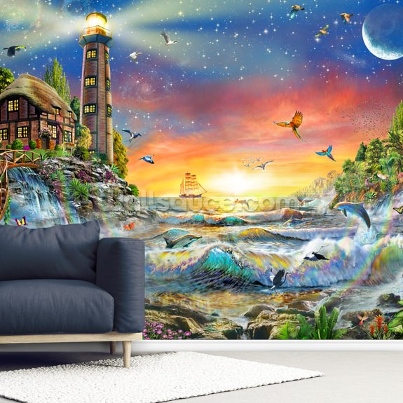 Lighthouse at Dawn wallpaper mural room setting