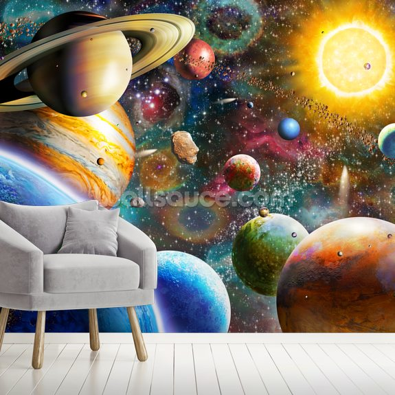 Planets in Space mural wallpaper room setting