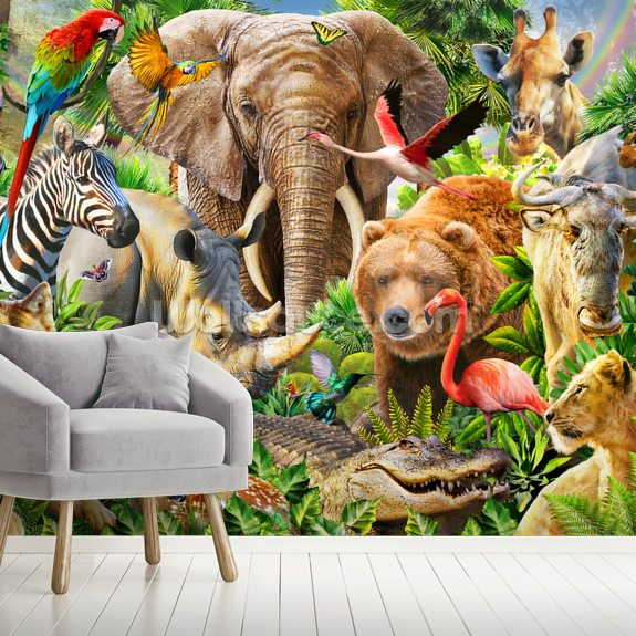 Animal Mix Panorama wall mural room setting