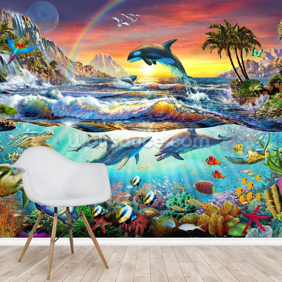 Paradise Cove wall mural room setting