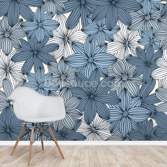 Camo Blue Wall Mural Room Setting