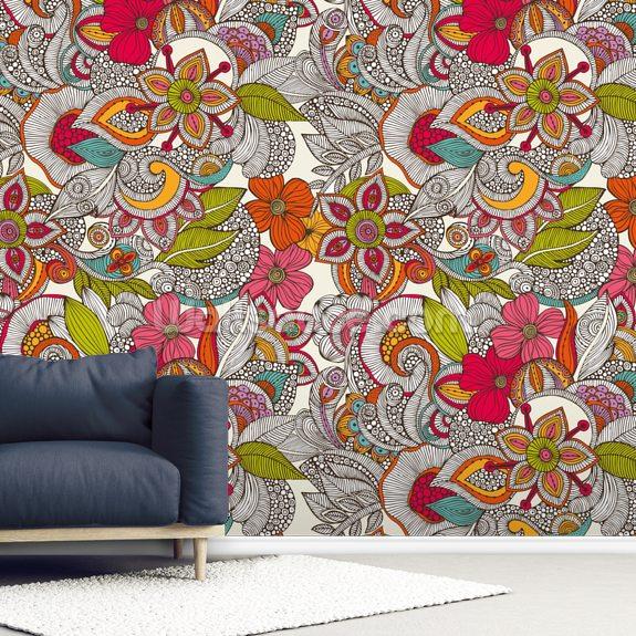 Flower Doodles Color Wall Mural | Wallsauce UK