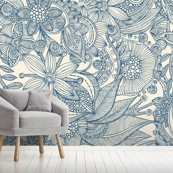 Flowers And Doodles Blue Wall Mural Wallsauce Eu