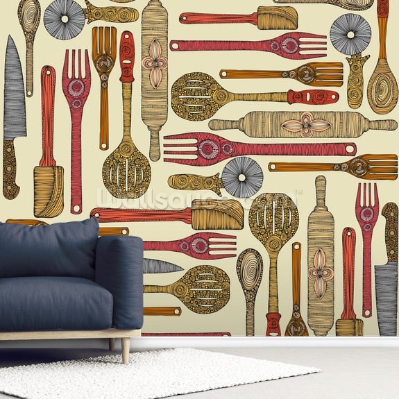 Lets Cook wall mural room setting