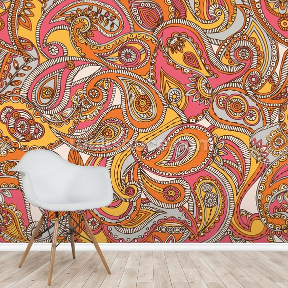 Spring Paisley mural wallpaper room setting