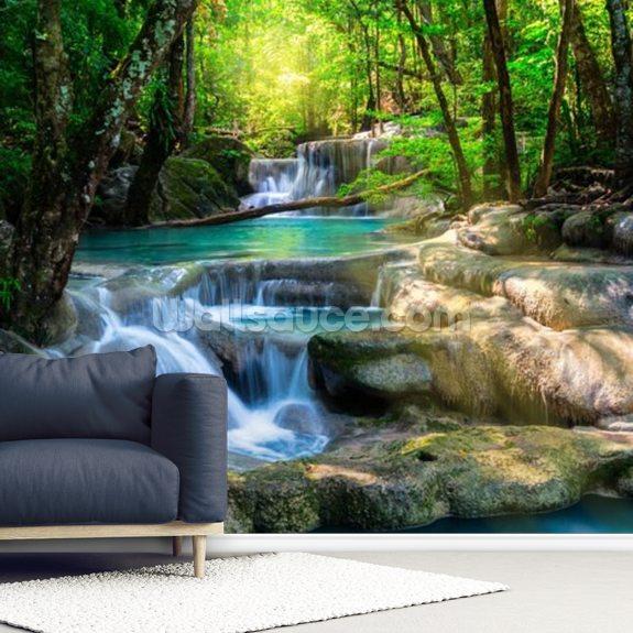 Peaceful Waterfall Wallpaper Wallsauce Us