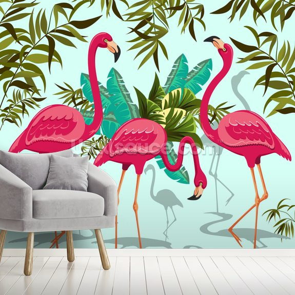Tropical Pink Flamingos Wallpaper