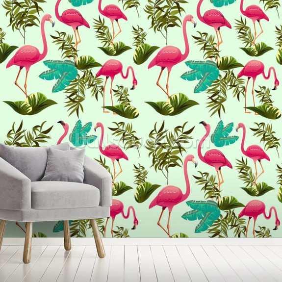 Pink Flamingo Pattern Wall Mural Room Setting