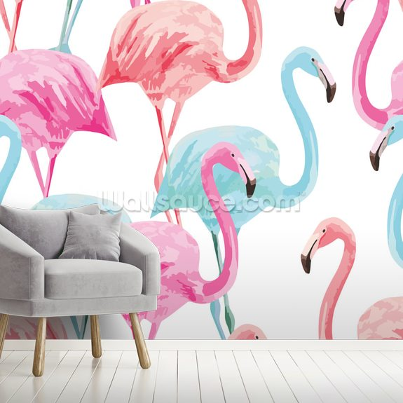 Flamingo Watercolour Wallpaper Wallsauce Uk