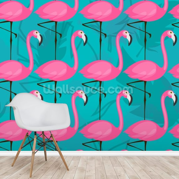 Bright Pink Flamingos Wallpaper Wallsauce Ca