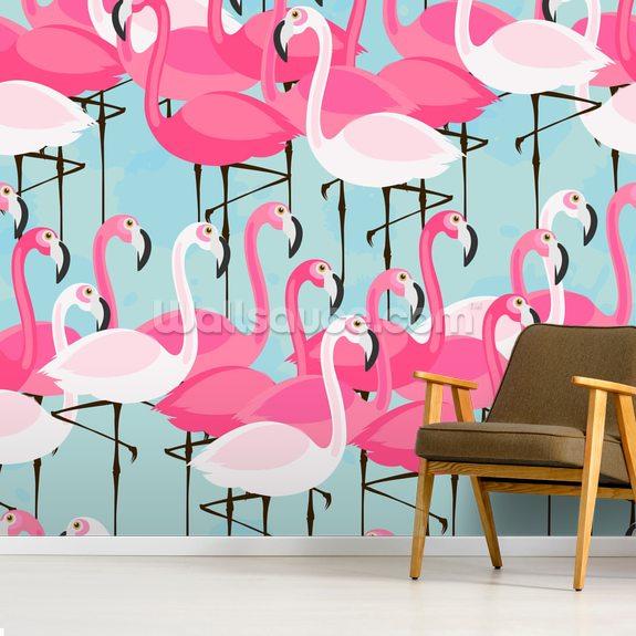 Flock Of Flamingos Wallpaper Wallsauce Uk