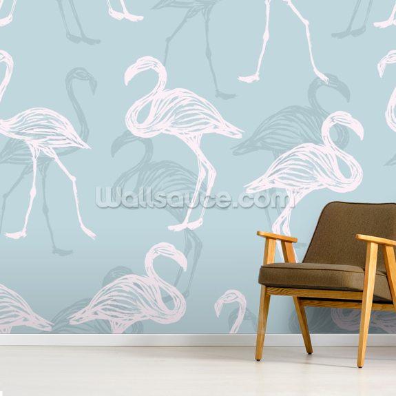 Light Blue White Flamingos Wallpaper Wallsauce Uk
