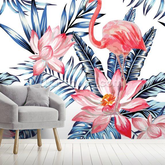 Blue Palm Flamingos Wallpaper Wallsauce Us