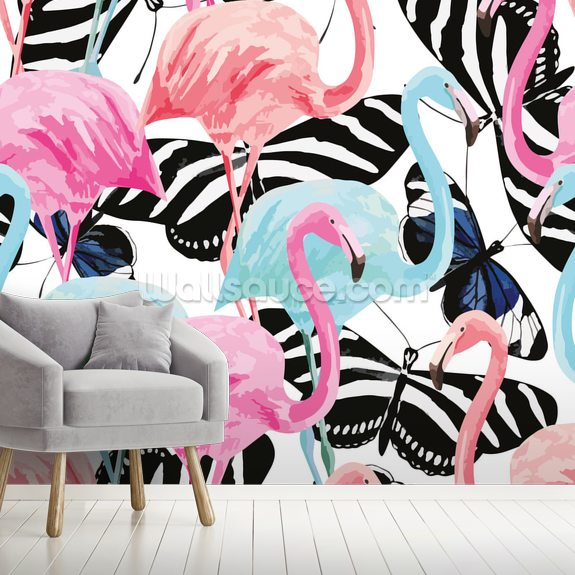 Flamingos with Butterflies wallpaper mural room setting