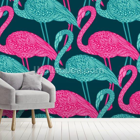 Flamingo Doodle Wallpaper Wallsauce Uk