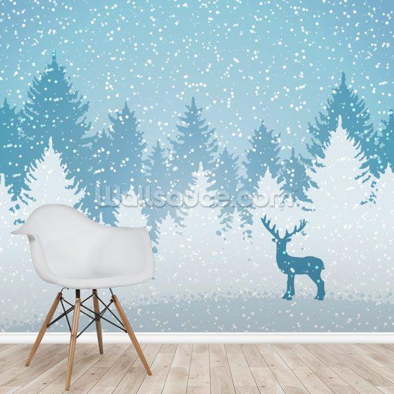 Winter Forest Deer Mural Wallpaper Room Setting