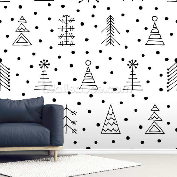 Dotty Christmas wallpaper mural room setting