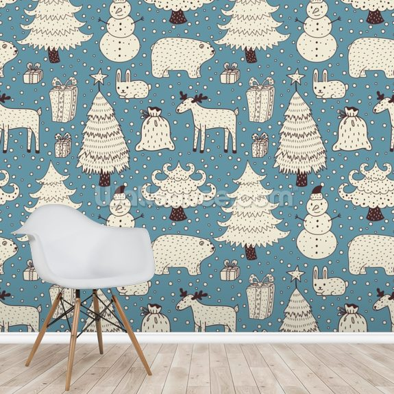 All About Christmas mural wallpaper room setting