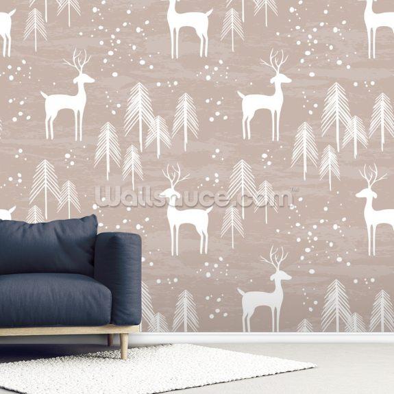 Deer In Winter Mural Wallpaper Room Setting