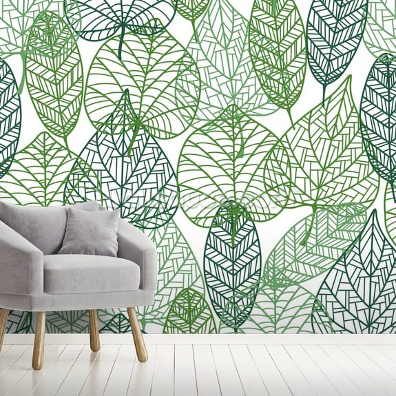 Dark And Light Green Leaves Mural Wallpaper Room Setting