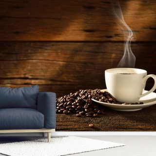 Coffee Cup and Coffee Beans Wallpaper Wall Murals