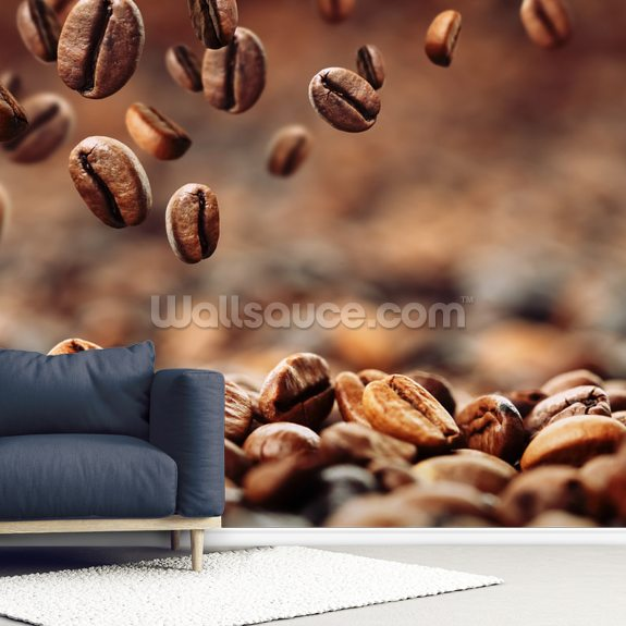 Coffee Beans mural wallpaper room setting
