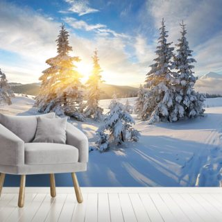 Morning panorama of mountains Wallpaper Wall Murals
