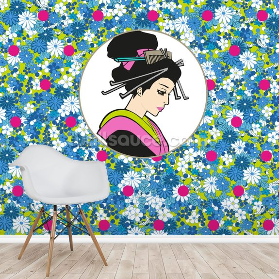 Flowerbed Geisha mural wallpaper room setting