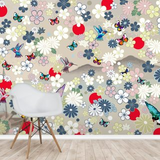 Butterfly and Birds Wallpaper Wall Murals